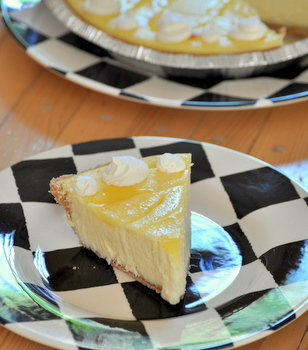Lemon Swirl Cream Cheese Pie, sliced