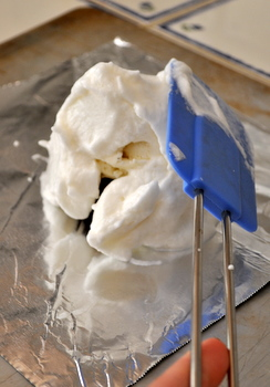 Baked Alaska being covered