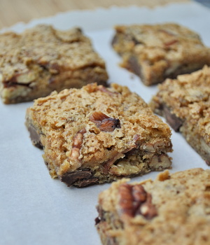 Chewy Salted Pecan and Chocolate Chip Squares
