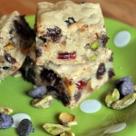 Blondies with CCs, Cherries and Pistachios