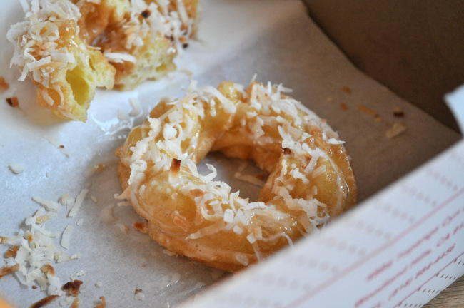 Toasted Coconut Glazed Crullers