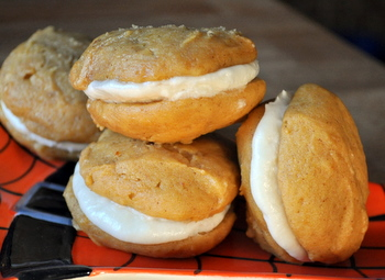Pumpkin Whoopie Pies with Salted Caramel Filling