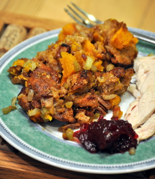 Bacon, Pumpkin and Pecan Stuffing, plated