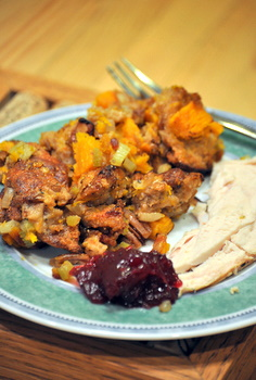 Turkey dinner with bacon stuffing