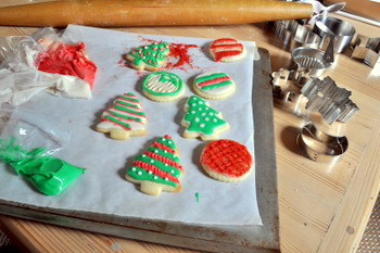 Lots of decorated cutout cookies
