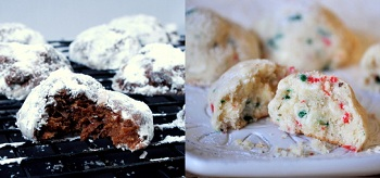 Truffle Cookies and White Chocolate Snowballs