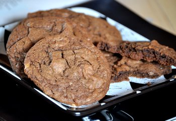 Double Chocolate Coffee Toffee Cookies