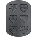 6 Cavity Non-Stick Heart Cookie Pan