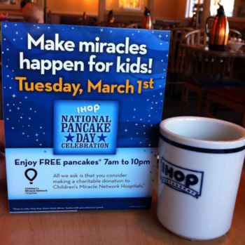 Free Pancakes at IHOP on National Pancake Day