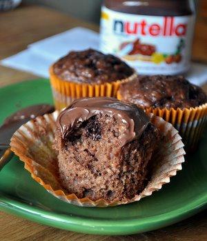 Banana Nutella Bran Muffins