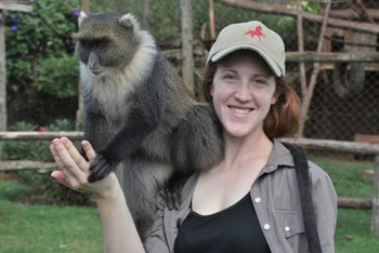 Nicole and a Sykes Monkey at the Mount Kenya Animal Orphanage