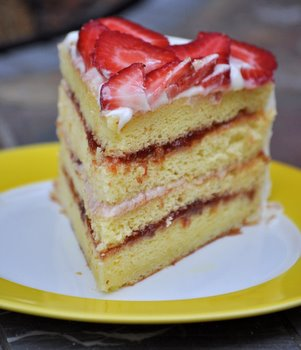 Strawberry Lemonade Chiffon Layer Cake, sliced