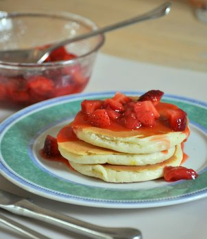 Strawberry Guava Syrup with Buttermilk Pancakes