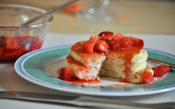Buttermilk Pancakes with Strawberry Guava Syrup