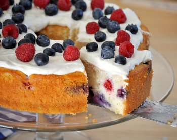 Red, White and Blue Berry Cake