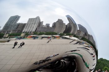 The Cloud Gate and the Chicago Skyline