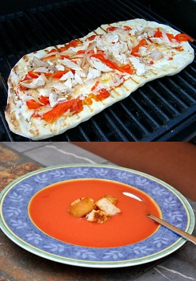 Grilled Pizza and Salmorejo