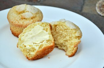 Orange Olive Oil Muffins, with butter