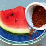 Watermelon with pink salt
