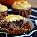 Dark Chocolate Cupcakes with Pumpkin Buttercream, interior