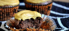 Dark Chocolate Cupcakes with Pumpkin Buttercream