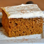 Pumpkin Sheet Cake with Brandy Buttercream Frosting