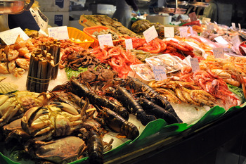 Fish at Eggs at La Boqueria Market