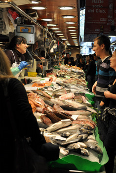 Buying fish at La Boqueria Market