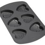 Decorated Heart 6 Cavity Nonstick Mini Cake Pan