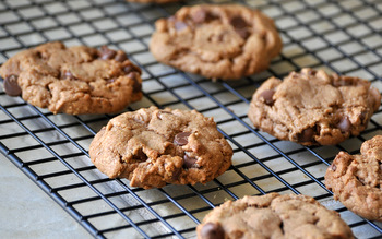 Flourless Cocoa Peanut Butter Chocolate Chip Cookies