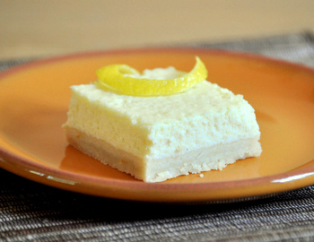 Ricotta Cheesecake Slice with Lemon Shortbread Crust