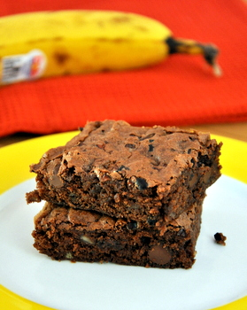 Banana Brownies with Cacao Nibs