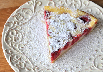 Impossible Raspberry Custard Pie