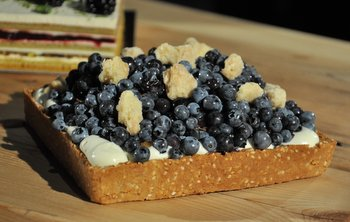Blueberry, Corn and Peach Tart with Sesame Crust