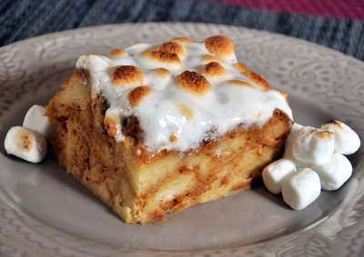 Sweet Potato Bread Pudding with Marshmallow Topping