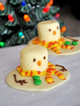 Baking Bites' Melted Snowman Chocolates