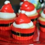 Mini Santa Hat Cupcakes