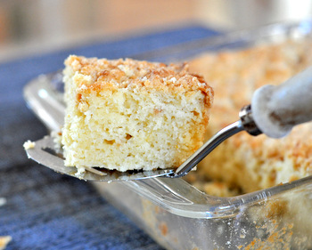 Meyer Lemon Coffee Cake, side view