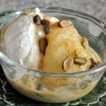 Caramel-Roasted Pear with Ice Cream