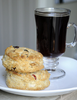 Cranberry Walnut Scones with Coffee