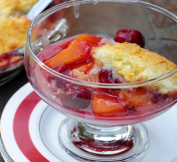 Cherry and Peach Cobbler