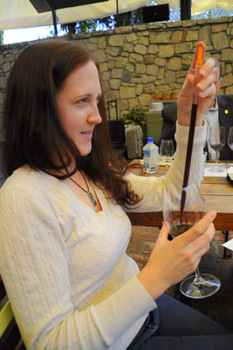 Nicole blending wine