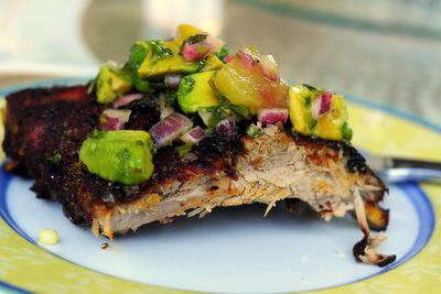 Border Grill Glaze Ribs with Pineapple Salsa