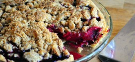 Plum and Blackberry Pie with Almond Crumble