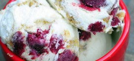 Homemade Cherry Cobbler Ice Cream