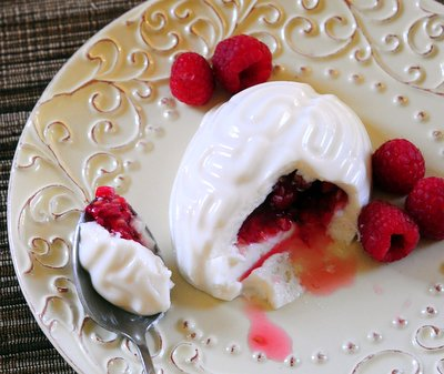 Vanilla Yogurt Panna Cotta Brains with Raspberry Filling