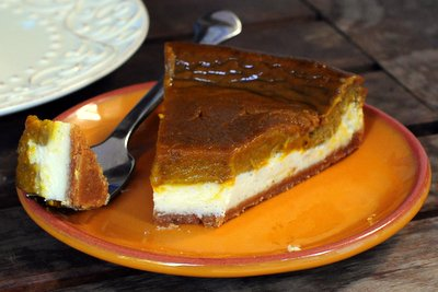 Two Layer Pumpkin Pie Cheesecake, with bite