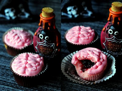 brain cupcakes collage - Halloween Inspired Cupcakes