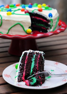 Holiday Chocolate Peppermint Layer Cake, sliced