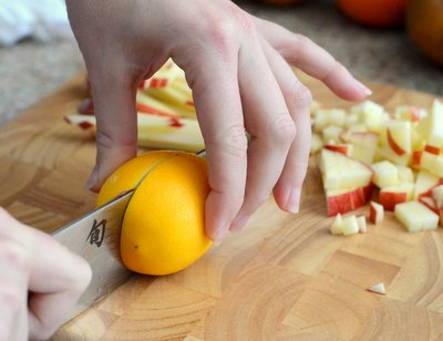 Slicing a Meyer Lemon in Half